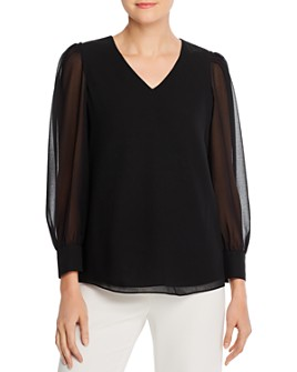 Calvin Klein - Semi Sheer-Sleeve V-Neck Top