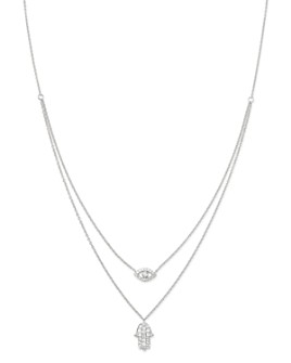 Bloomingdale's - Diamond Hamsa & Evil Eye Double-Strand Necklace in 14K White Gold, 0.34 ct. t.w. - 100% Exclusive