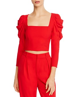 Alice and Olivia - Rachel Puff-Sleeve Cropped Top