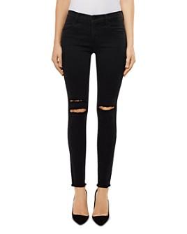 J Brand - 8227 Mid-Rise Ankle Skinny Jeans in Black Mercury
