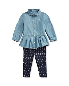 Ralph Lauren - Girls' Chambray Peplum Top & Anchor Print Leggings Set - Baby