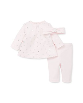 Little Me - Girls' Foil Heart Print Top, Solid Leggings & Headband Set - Baby
