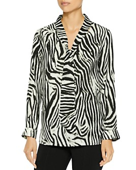 Misook - Tie-Neck Zebra Blouse