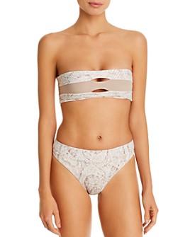 PQ Swim - Cobra Color-Blocked Bandeau Bikini Top & High-Waist Full Bikini Bottom