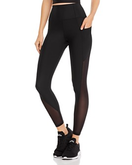 AQUA - High-Rise Mesh-Inset Leggings - 100% Exclusive