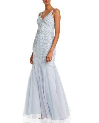 Navy Aqua Women/'s Embellished Mesh-Back Gown 12