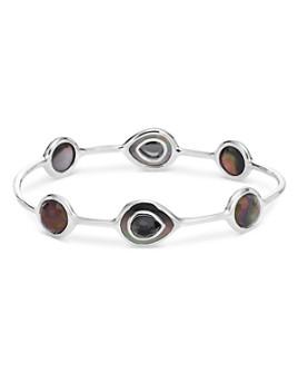IPPOLITA - Sterling Silver Ondine Hematite, Clear Quartz & Black Shell Station Bangle Bracelet