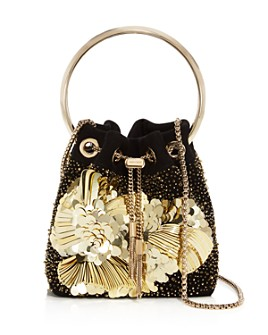 Jimmy Choo - Bon Bon Embroidered Suede Bucket Bag