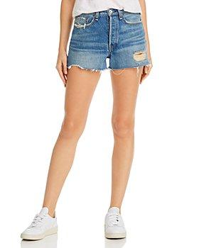 rag & bone - Maya High-Rise Distressed Denim Shorts in Rochester