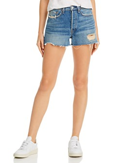 rag & bone - Maya High-Rise Distressed Denim Shorts in Rochester
