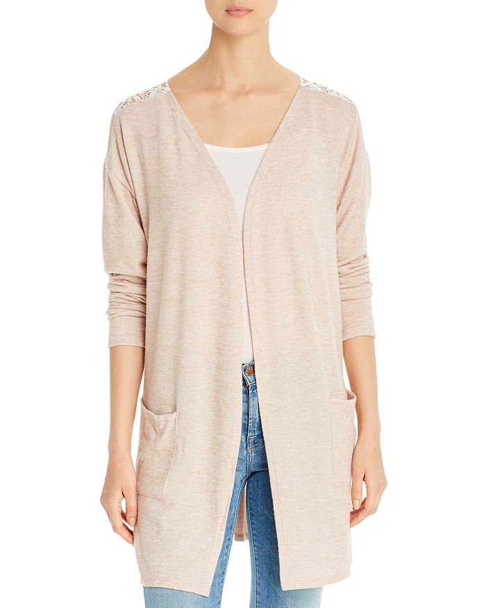 Alison Andrews Crochet-back Open Cardigan In Oatmeal