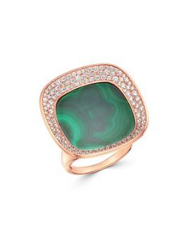 Roberto Coin - 18K Rose Gold Carnaby Street Malachite & Diamond Large Ring