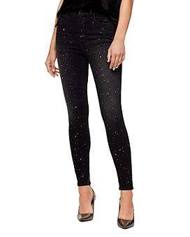 Sanctuary - Metallic Splatter Skinny Ankle Jeans in Starry Night