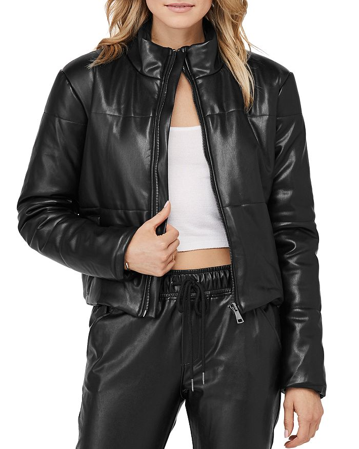 David Lerner - Bella Faux Leather Puffer Jacket