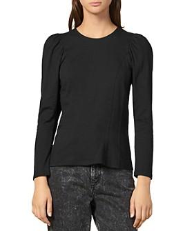 Sandro - Shain Puff-Shoulder Cotton Jersey Top