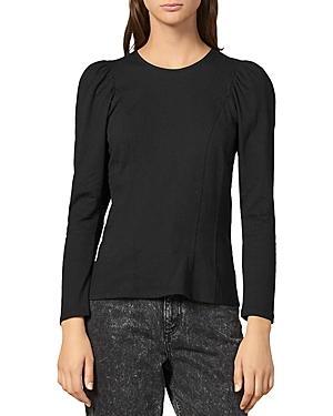 Sandro Shain Puff-Shoulder Cotton Jersey Top