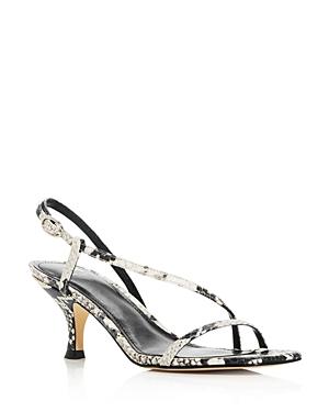 Marc Fisher Ltd. Women's Gove Strappy Snake-Embossed Kitten-Heel Sandals