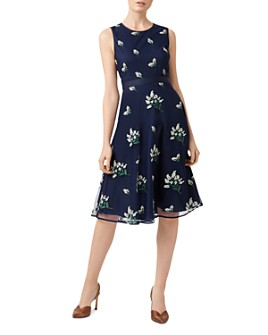 HOBBS LONDON - Julia Embroidered Fit-and-Flare Dress