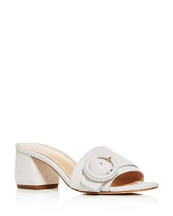 Via Spiga - Women's Flor Croc-Embossed Block-Heel Slide Sandals