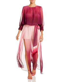 Jonathan Simkhai - Midnight Ombré Cropped Top & Amber Ombré Wide-Leg Pants Swim Cover-Ups