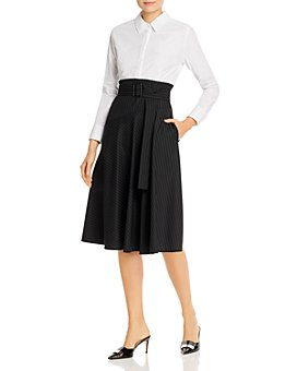 PAULE KA - Belted Striped-Skirt Midi Dress