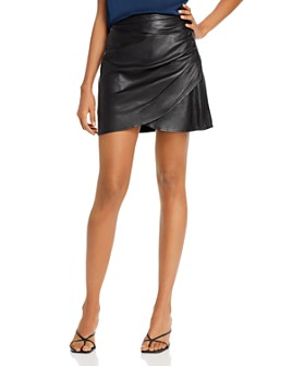7 For All Mankind - Leather Ruched-Side Skirt