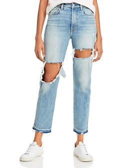 7 For All Mankind - Ripped High-Waist Cropped Straight Jeans in Topanga