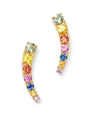 Bloomingdale's Rainbow Sapphire Climber Earrings in 14K Yellow Gold - 100% Exclusive