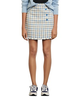 Sandro - Calia Button-Detail Houndstooth Mini Skirt
