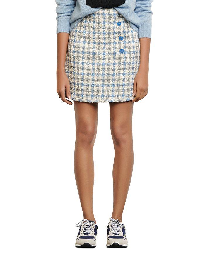 Sandro - Calia Button-Detail Houndstooth Mini Skirt