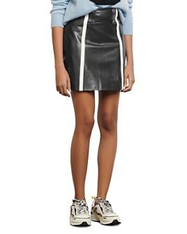 Sandro - Gansia Striped Leather Mini Skirt