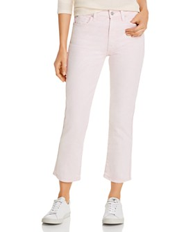7 For All Mankind - High-Waist Cropped Straight Jeans in Mineral Pink