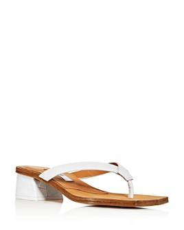 Miista - Women's Cherith Croc-Embossed Block-Heel Thong Sandals