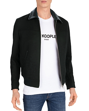 The Kooples Redding Leather Trimmed Bomber Jacket
