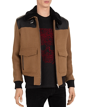 The Kooples Orione Leather Trimmed Jacket