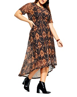 City Chic Plus - Printed Short-Sleeve Dress