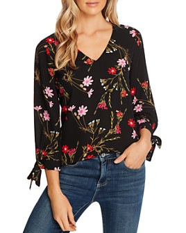 CeCe - Enchanted Printed Tie-Sleeve Top
