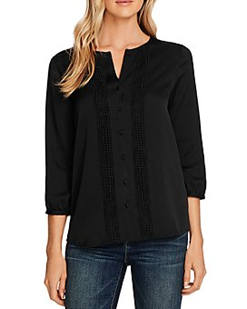 VINCE CAMUTO - Rumple Hammer Satin Button-Down Blouse