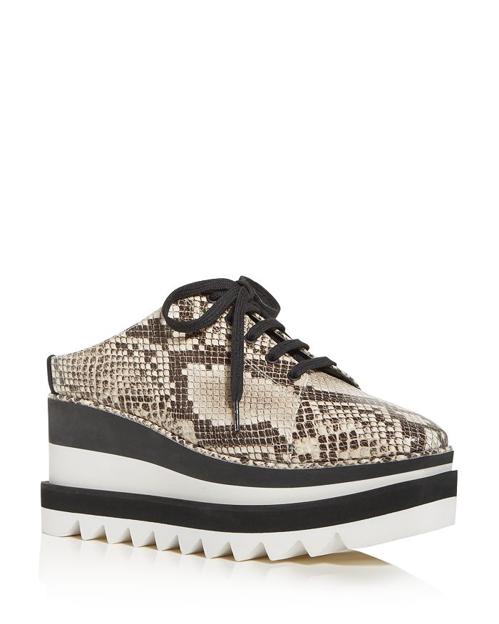 Stella McCartney - Women's Snake-Embossed Platform Wedge Slip-On Sneakers