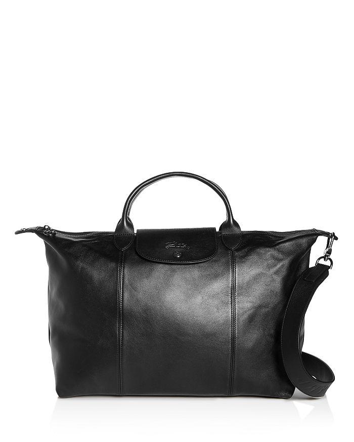 Lonchamp Le Pliage Cuir Large Leather Shoulder Bag In Black
