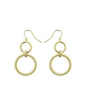 Bloomingdale's Hoop & Ribbed Double Circle Drop Earrings in 14K Yellow Gold - 100% Exclusive