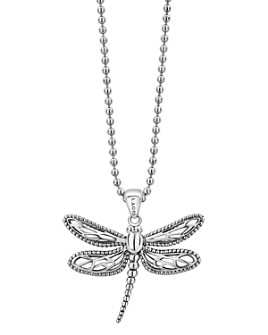 """LAGOS - Sterling Silver Rare Wonders Dragonfly Pendant Necklace, 34"""""""