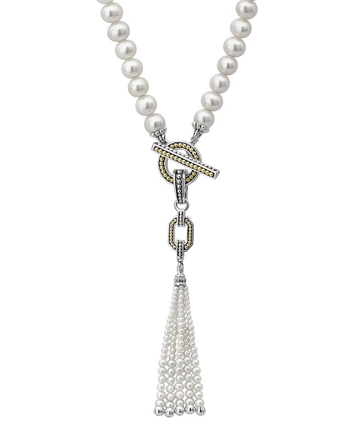"""LAGOS - Sterling Silver & 18K Yellow Gold Luna Cultured Freshwater Pearl Drop Necklace, 18"""""""