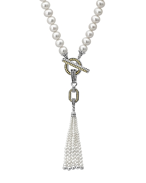 Lagos Sterling Silver & 18K Yellow Gold Luna Cultured Freshwater Pearl Drop Necklace, 18