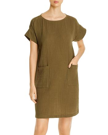 Eileen Fisher Petites - Organic Cotton Short-Sleeve Shift Dress