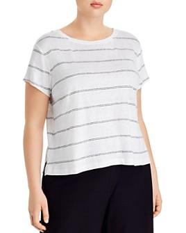 Eileen Fisher Plus - Organic Linen Striped Tee