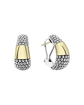 LAGOS - 18K Yellow Gold & Sterling Silver High Bar Caviar Huggie Earrings