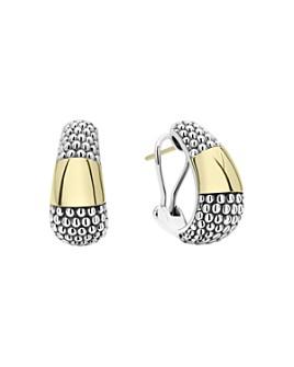LAGOS - 18K Yellow Gold & Sterling Silver High Bar Caviar Huggie Earrings