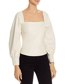Lucy Paris - Puff-Sleeve Faux Leather Top - 100% Exclusive