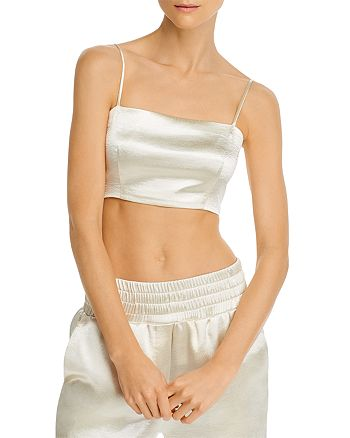 Cinq à Sept - Textured Satin Crop Top